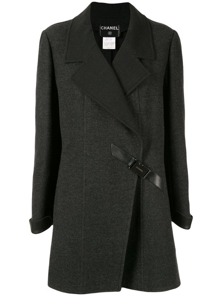 Chanel Pre-Owned diagonal buckle coat in grey
