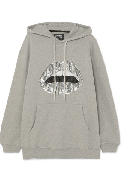 Markus Lupfer - Erin Oversized Sequined Cotton-jersey Hoodie - Gray