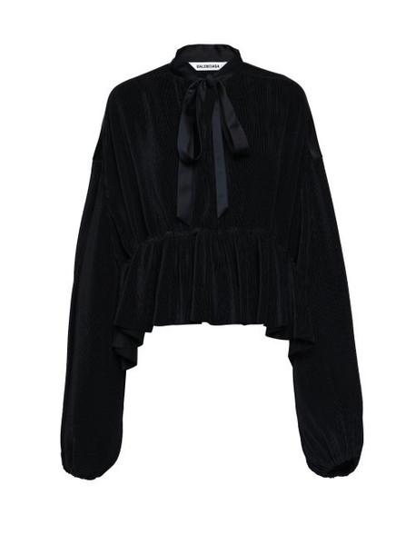 Balenciaga - Peplum-hem Plissé-jersey Blouse - Womens - Black