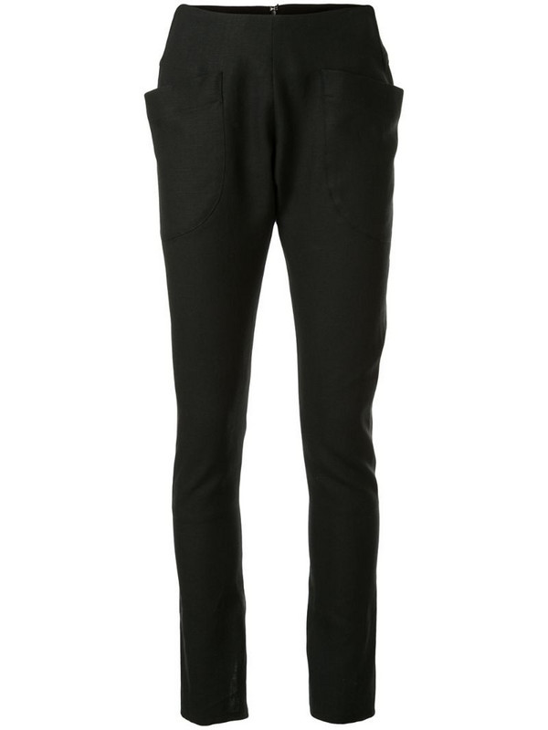 sulvam slim-leg trousers in black