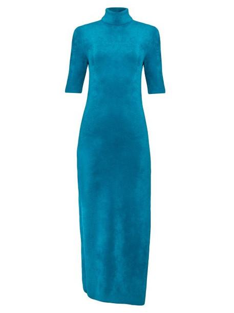 Balenciaga - Logo Tag Velvet Pencil Dress - Womens - Blue