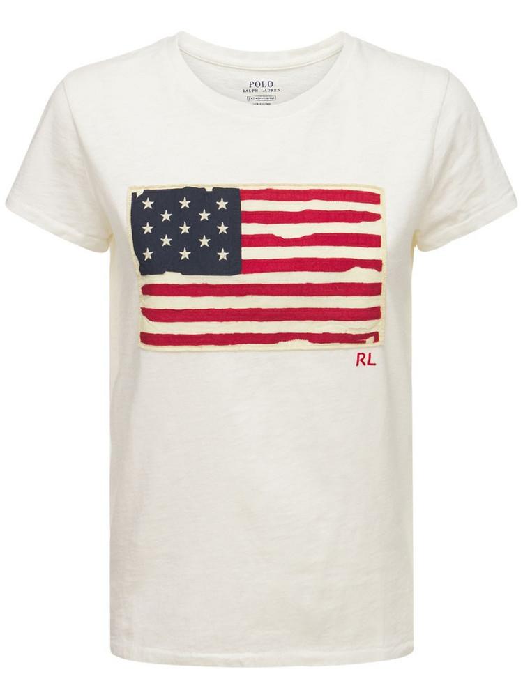 POLO RALPH LAUREN American Flag Printed Cotton T-shirt in white