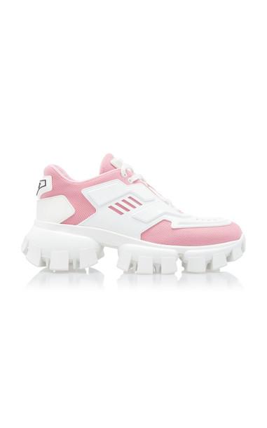 Prada Two-Tone Maglia Tech Sneakers in pink