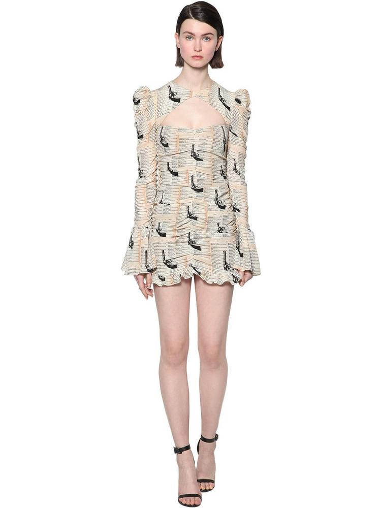 DE LA VALI Draped Printed Crepe Mini Dress in white