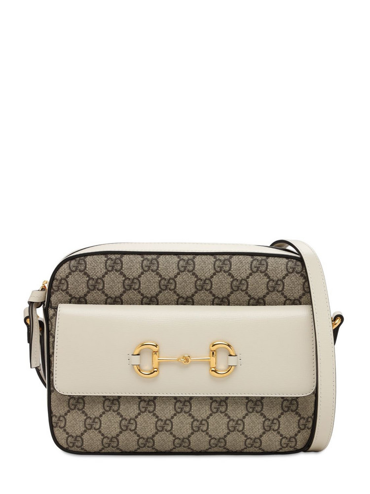 GUCCI 1955 Horsebit Gg Supreme Shoulder Bag in white
