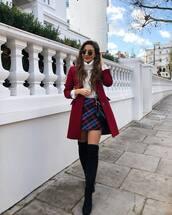 skirt,plaid skirt,over the knee boots,black boots,red coat,white sweater,turtleneck,black bag