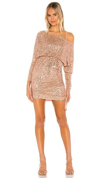 Free People Giselle Mini Dress in Metallic Gold
