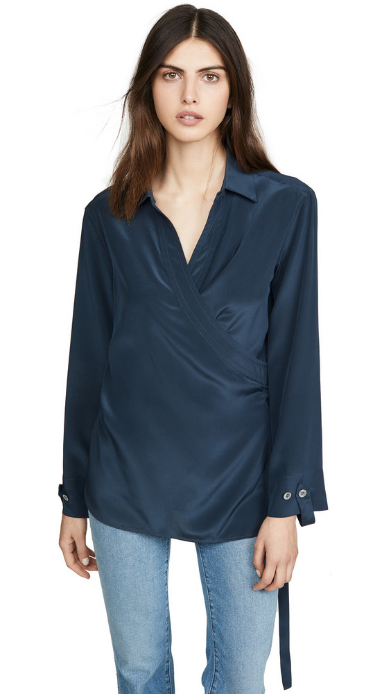 TRE by Natalie Ratabesi Long Sleeve Collared Silk Blouse in blue