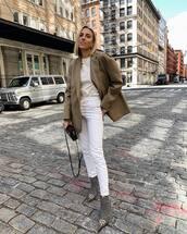 jacket,blazer,oversized,white t-shirt,white jeans,high waisted jeans,skinny jeans,balenciaga,ankle boots,plaid,crossbody bag