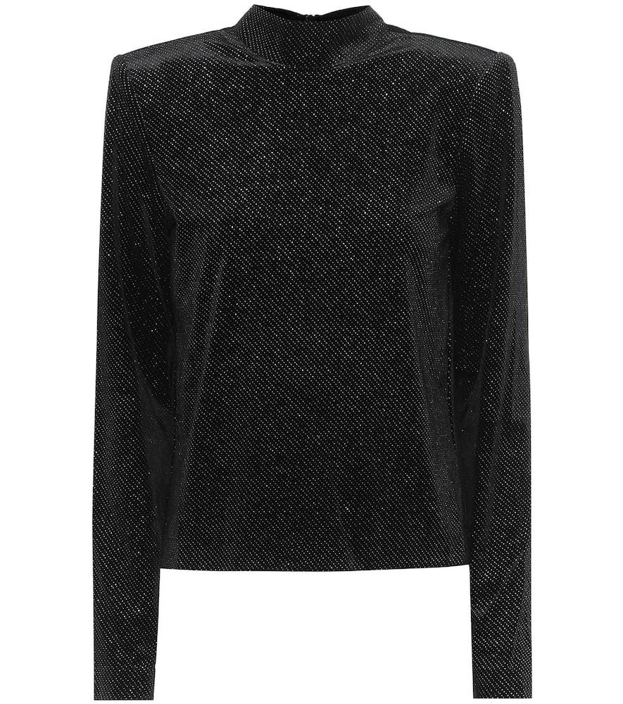 RTA Freddie metallic velour top in black