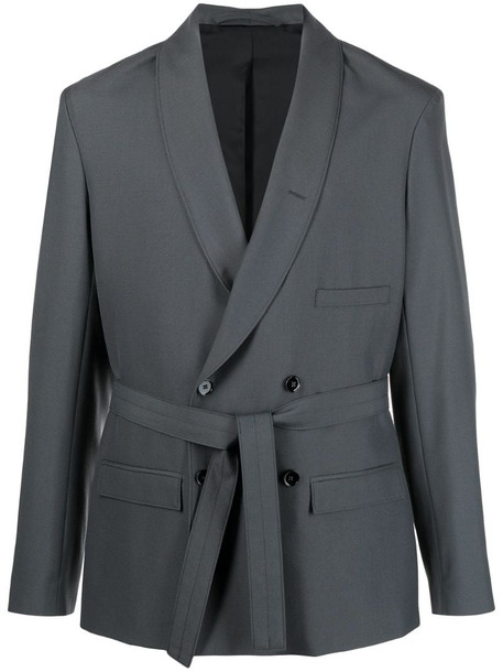 Lemaire belted double breasted blazer in green