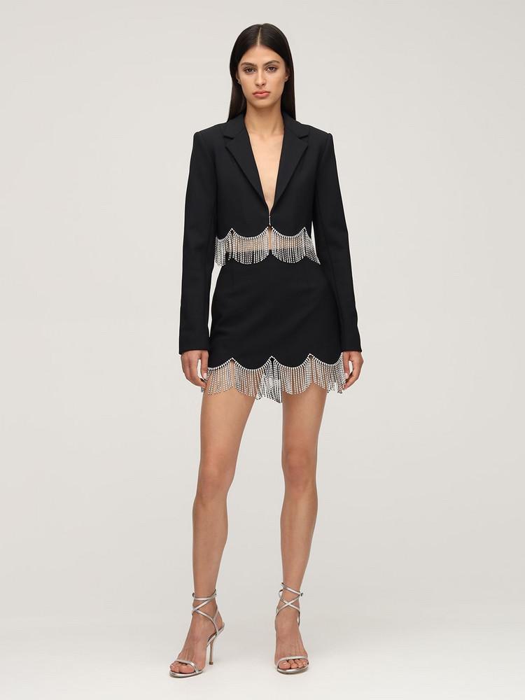 AREA Cropped Crepe Blazer W/ Crystal Fringe in black