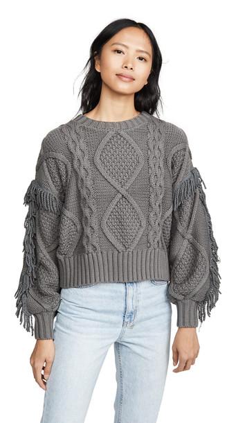 Line & Dot Jasper Fringe Sweater in charcoal
