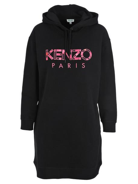 Kenzo Logo Embroidered Hoodie Dress in black