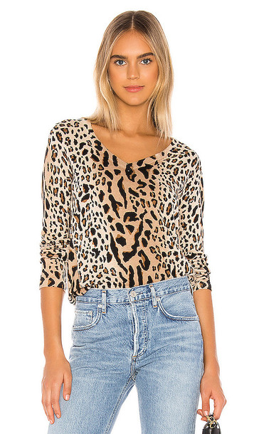 ATM Anthony Thomas Melillo Mixed Leopard Print V Neck Sweater in Brown
