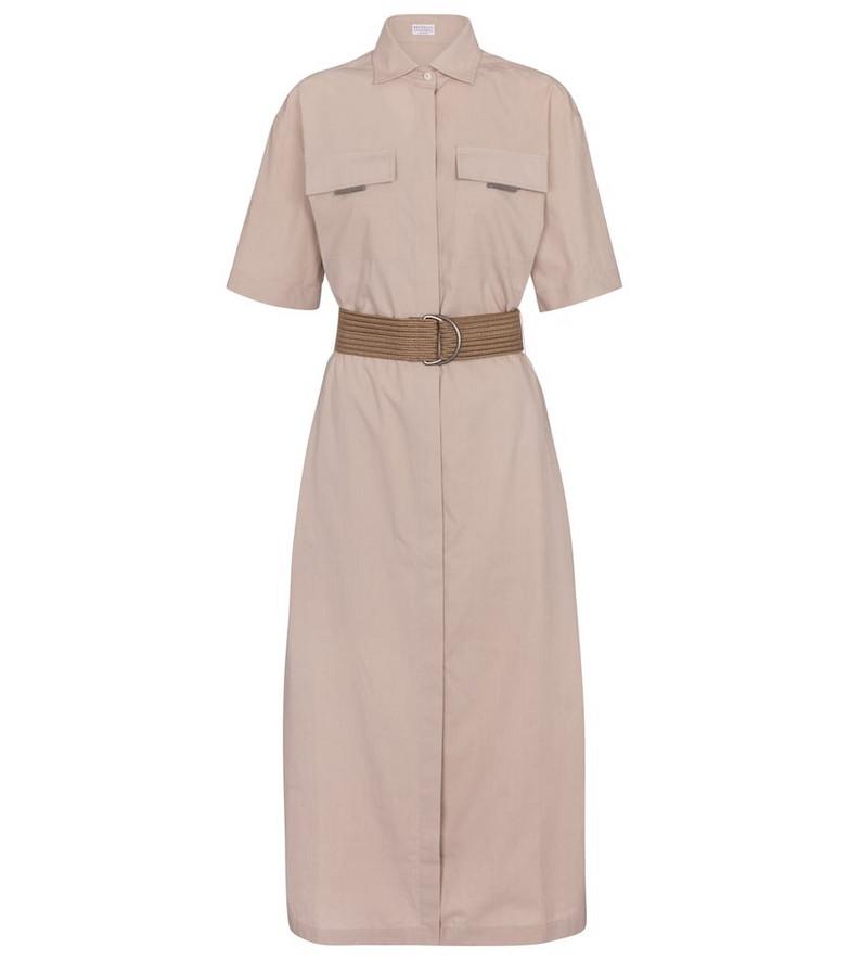 Brunello Cucinelli Embellished cotton shirt dress in beige