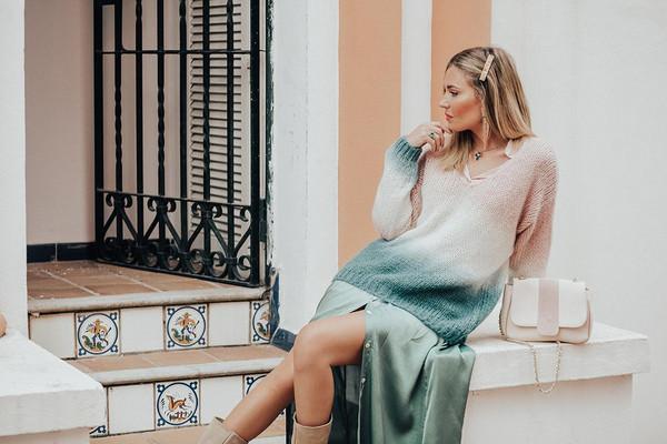 mi aventura con la moda blogger dress sweater spring outfits ombre