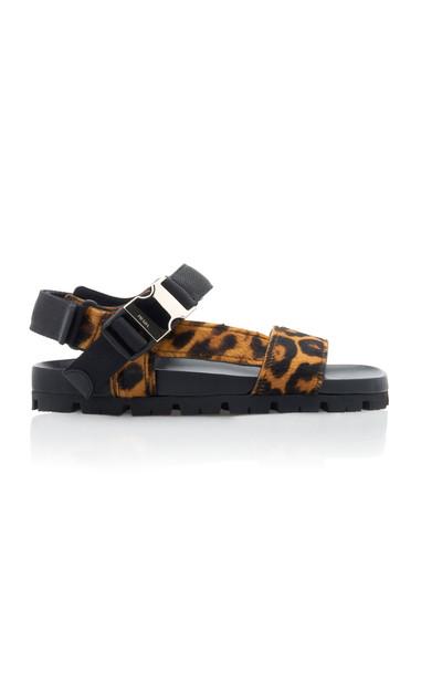 Prada Buckled Leopard-Print Calf Hair Sandals