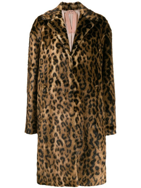 Nº21 leopard print coat in neutrals
