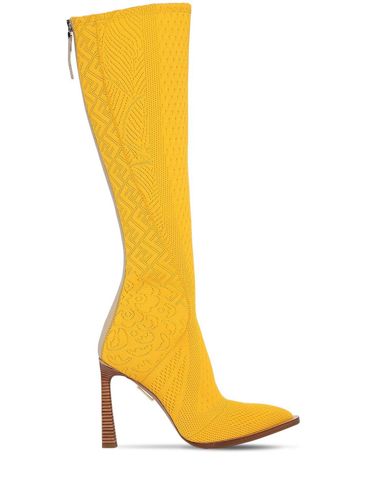 FENDI 105mm Jacquard Tall Boots in yellow
