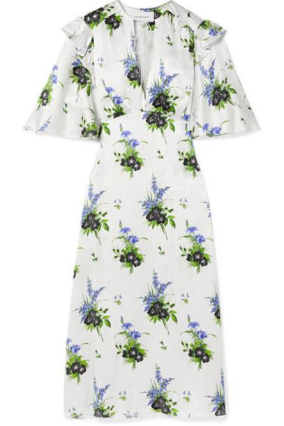 Les Rêveries - Ruffled Floral-print Silk-satin Midi Dress - White
