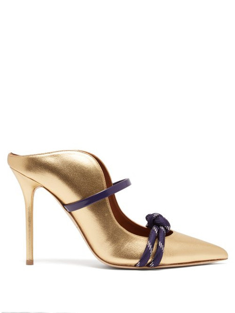 Malone Souliers - Farrah Leather Mules - Womens - Gold Navy