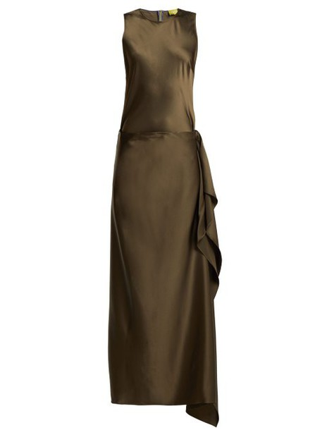 Albus Lumen - Hermosa Detachable Skirt Silk Dress - Womens - Dark Green