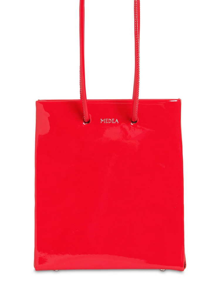 MEDEA Vinyl Bag W/ Long Shoulder Strap in red