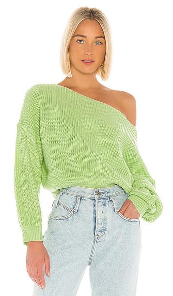 superdown Lulu Off Shoulder Sweater in Green