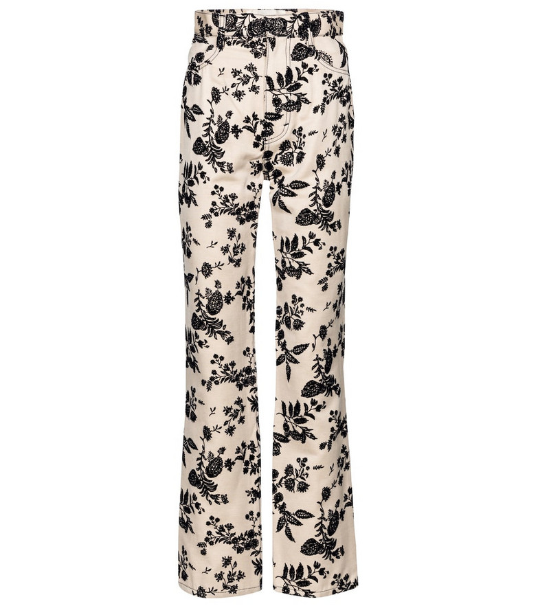 Rodarte Floral straight-fit jeans in beige