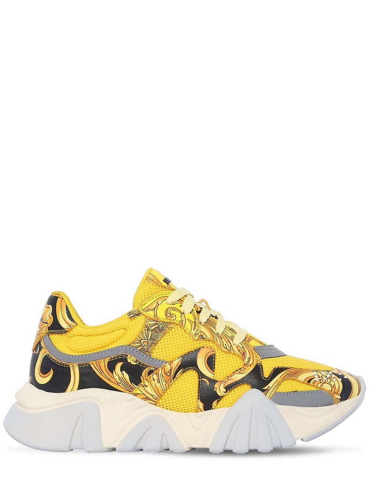 VERSACE 40mm Squalo Faux Leather & Mesh Sneakers in yellow
