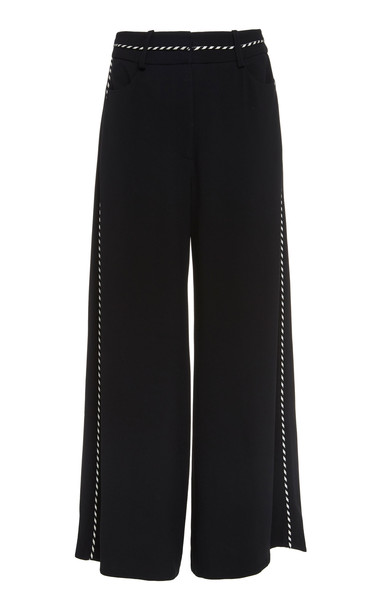 Peter Pilotto Corded Crepe Wide-Leg Culottes Size: 6 in black
