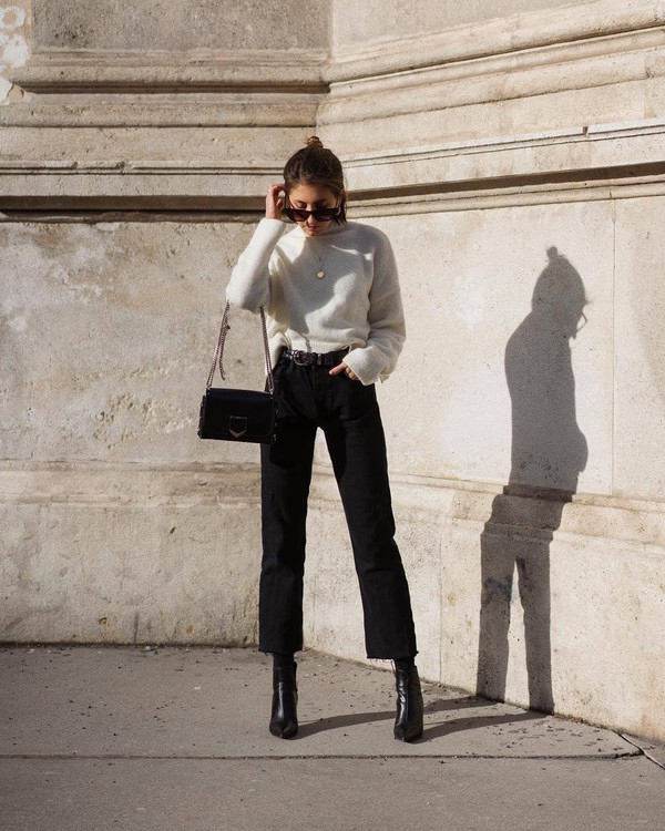 jeans black jeans cropped jeans black boots ankle boots heel boots straight jeans high waisted jeans black bag turtleneck sweater white sweater