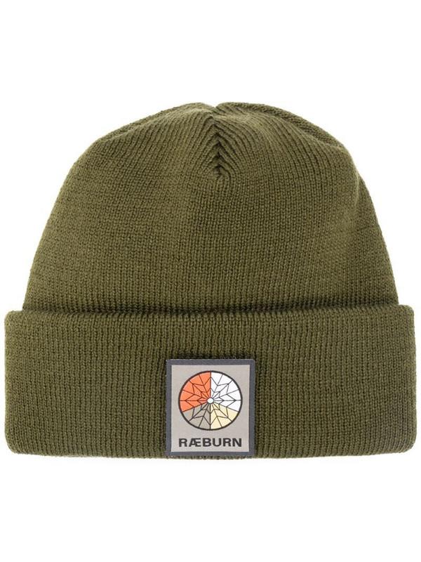 Raeburn logo patch beanie in green
