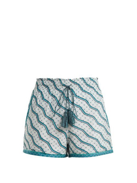 Talitha - Printed Silk And Cotton Blend Shorts - Womens - Green Print