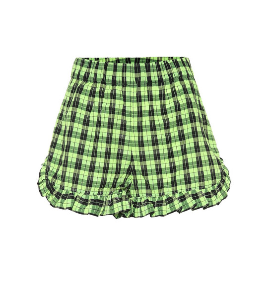 Ganni Checked cotton-blend shorts in green