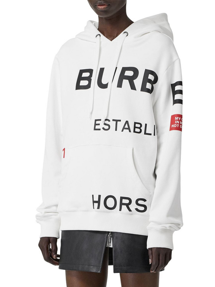 BURBERRY Logo Cotton Jersey Sweatshirt Hoodie in white
