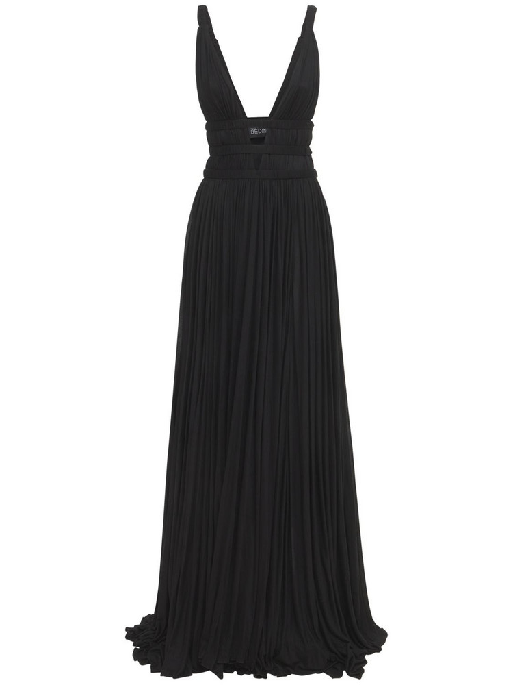 GIOVANNI BEDIN Deep V Viscose Jersey Long Dress in black