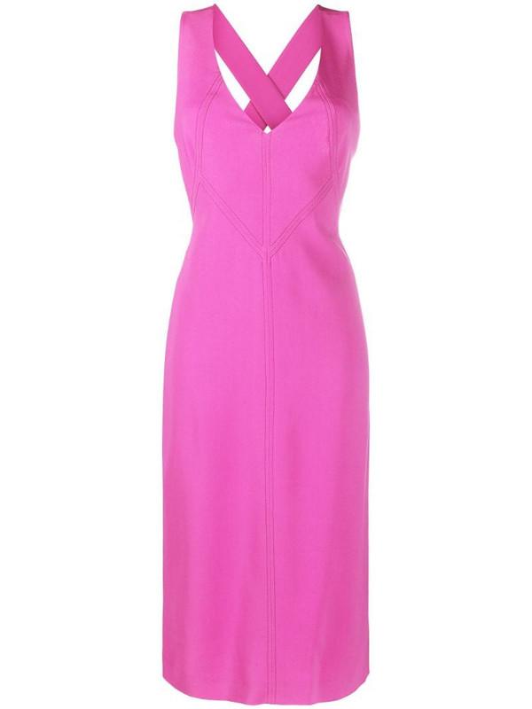 Alberta Ferretti v-neck midi dress in pink