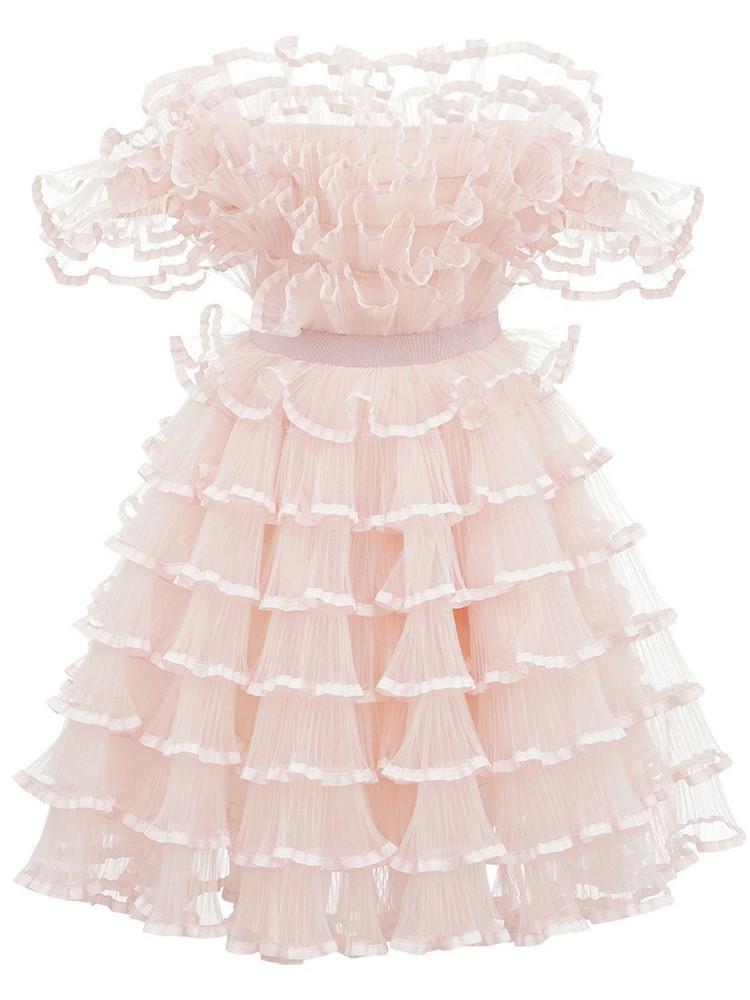 GIAMBATTISTA VALLI Off-the-shoulder Tulle Mini Dress in pink