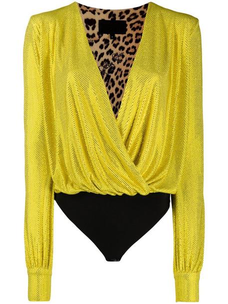 Philipp Plein Clio stud embellished bodysuit in yellow