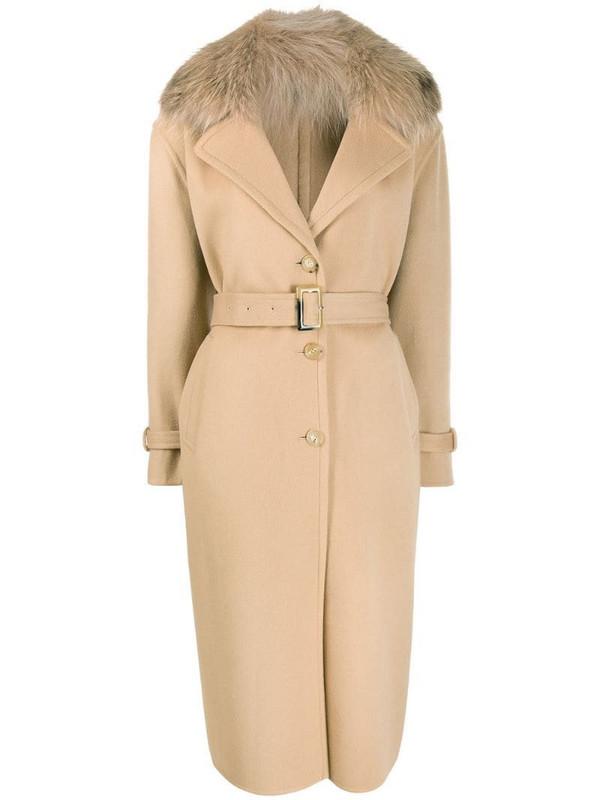 Ermanno Scervino fur collar single breasted coat in neutrals
