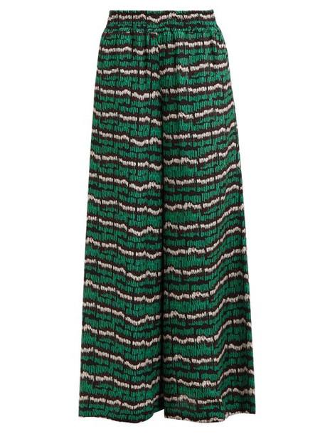 Rianna + Nina Rianna + Nina - Fioyri Graphic Print High Rise Wide Leg Trousers - Womens - Black Green