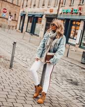 jeans,white jeans,zara,ankle boots,denim jacket,knitted sweater,scarf