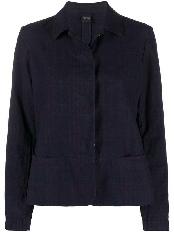 Aspesi tonal concealed fastening jacket in blue