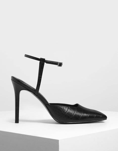 Square Toe Croc-Effect Stiletto Pumps in black