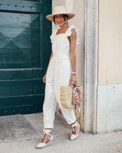 jumpsuit,white jumpsuit,espadrilles,handbag,hat