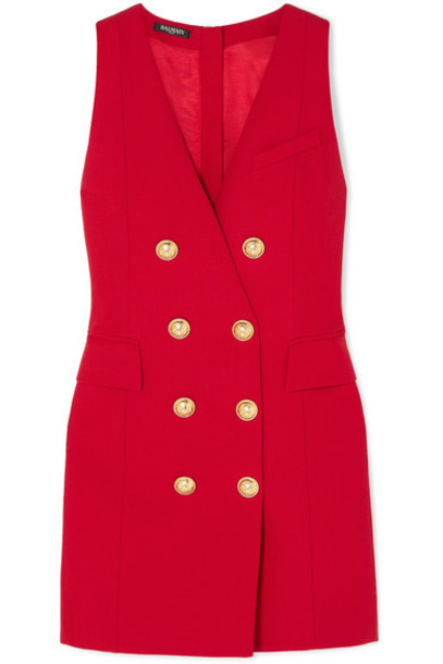 Balmain - Button-embellished Wool-twill Mini Dress - Red