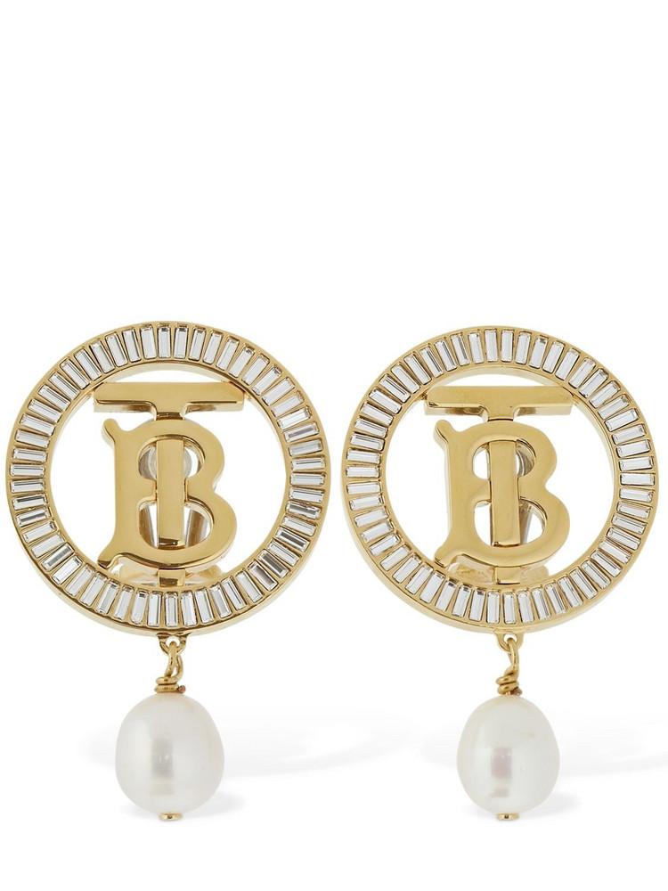 BURBERRY Tb Logo Baguette Pearl Clip-on Earrings in gold / white