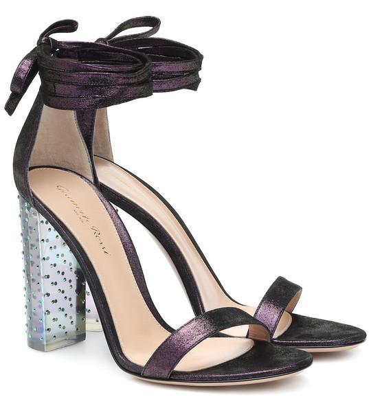 Gianvito Rossi Astra metallic suede sandals